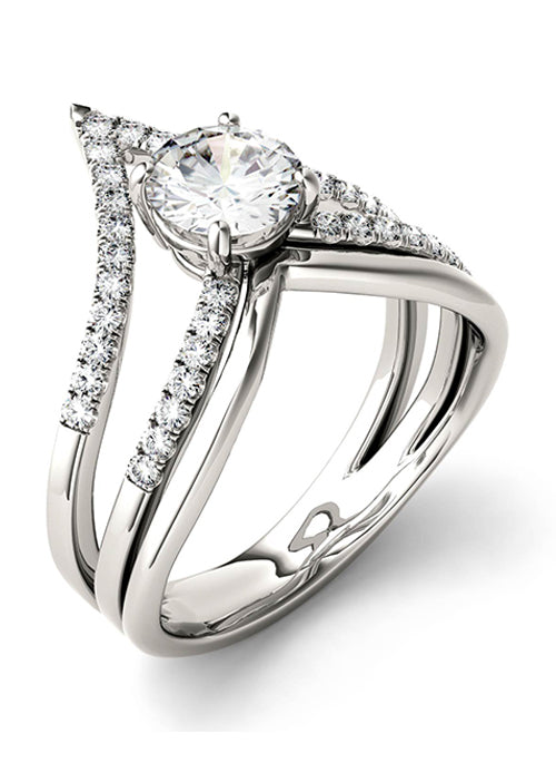 Forever Brilliant Moissanite 0.97ct Fashion Ring in Sterling Silver