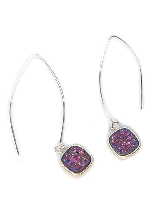 Mia Square Druzy Wire Earrings in Silver