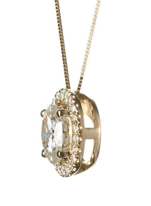 Forever Brilliant Moissanite 2.32ct Halo Pendant in 14k Gold