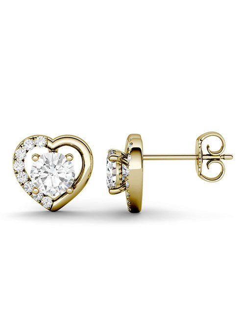 Forever Brilliant Moissanite 1.16ct Heart Stud Earrings in 14k Gold
