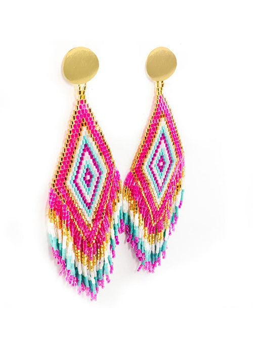Anitha Beaded Earrings in Pink