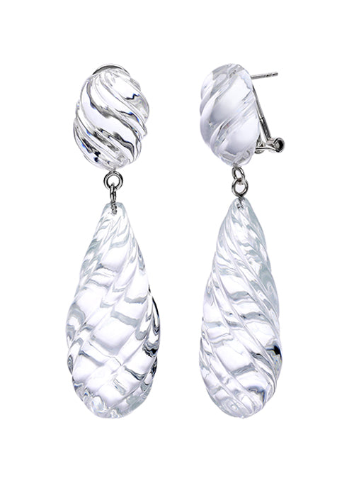 Sculpted Twisted Drop Lucite Earrings