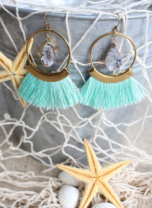 Mint Fringe Earrings