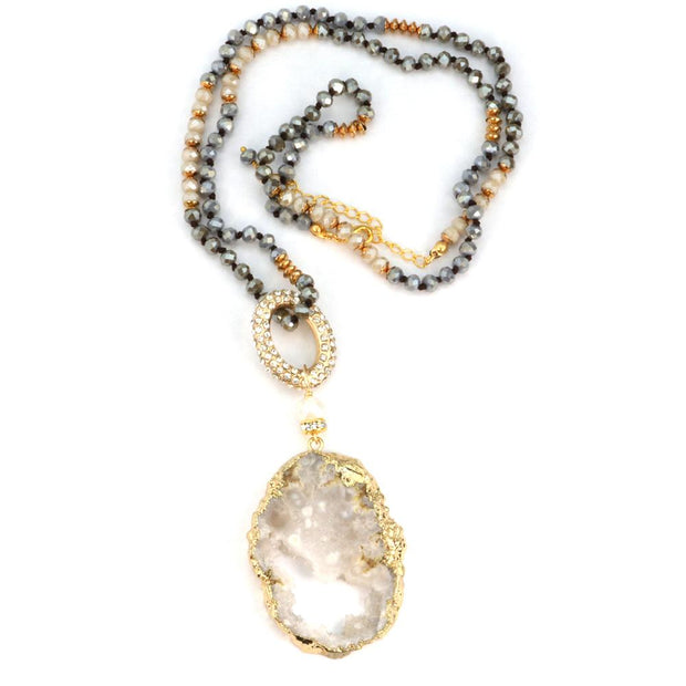 5 Way Druzy Beaded Necklace in Ivory