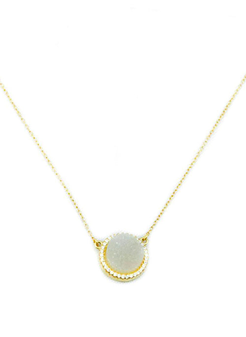 Alea Druzy Necklace with CZ Crystals