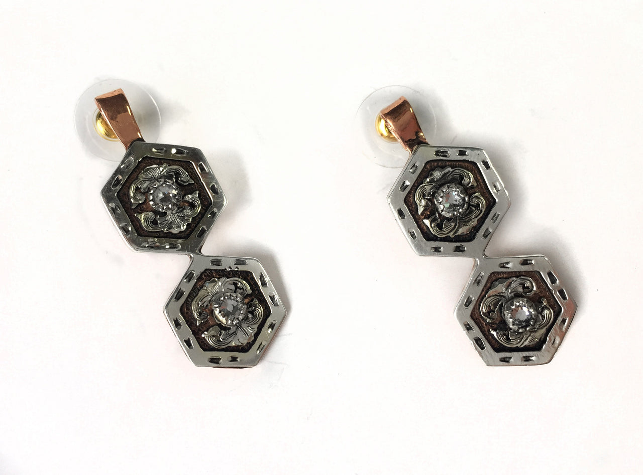 Hexagon Copper Earrings