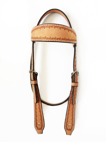 Cowboy Browband Headstall with Barbwire Border; UBCHS-002