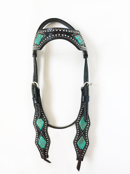 Scallop Browband Headstall with Turquoise Caiman Inlay; UBCHS-005
