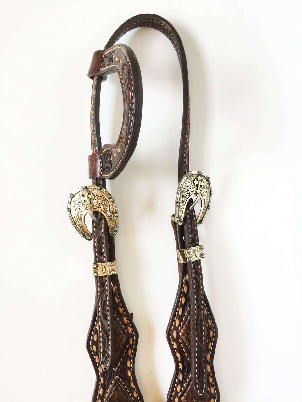Single Slip Ear Headstall with Copper Gator Inlay and Usher Brand Gold Buckle Set; UBCHS-008