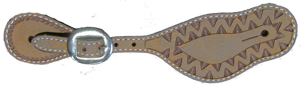 Buckle Through Spur Straps with Aztec Border Tooling; UBSS-101
