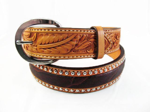Silver Studded  Natural Leather Brown Elephant Belt