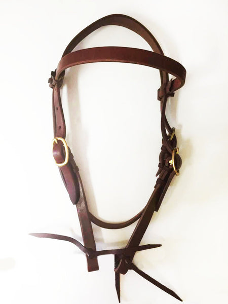Harness Leather Headstall with Standard Browband; UBCHS-009