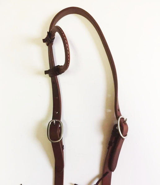 Harness Leather Headstall with One Slip Ear; UBCHS-010