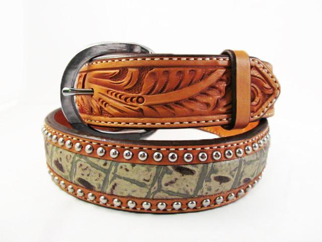 Silver Studded Natural Leather Green Alligator Belt