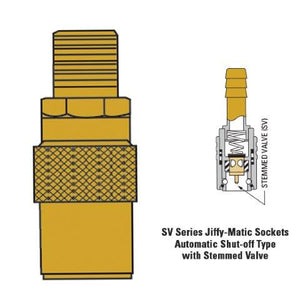 "JS201MSV 1/4"" hose fitting with 1/8"" male thread stop valve"
