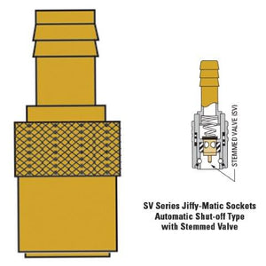 "JS204SV  1/4"" hose fitting with 1/4"" hose tail stop valve"