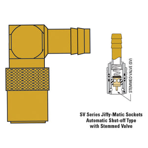 "Hose fitting 3/8"" socket with 90 stem 1/2"" hose tail valved"