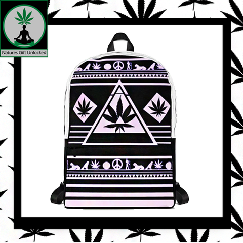 black and white weed backpacks