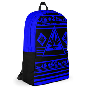 blue and black pattern bookbag