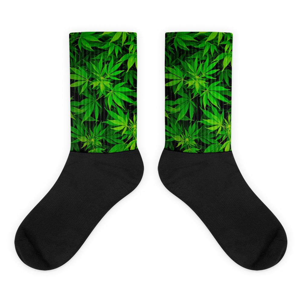 black and green weed socks