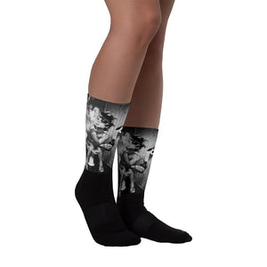 Black And White Weed Socks Sexy Girl Getting High - 420 Weed Shirts