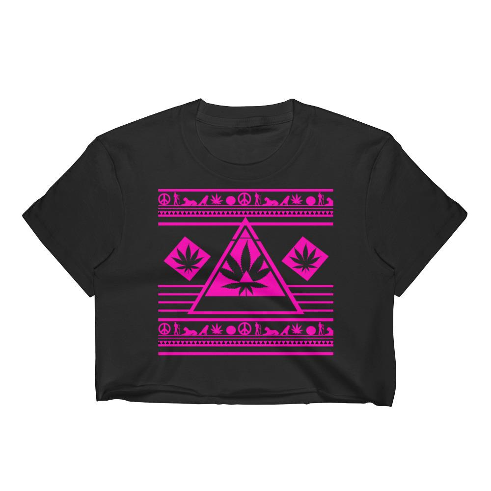 Cannabis Leaf Crop Top Bright Pink Weed Design $25 - 420 Weed Shirts