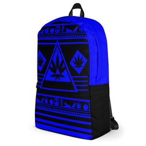 side view black and blue bookbag