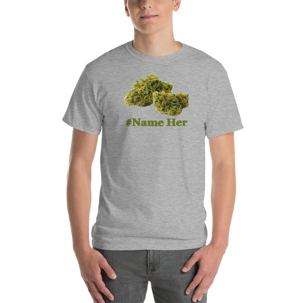 gray shirt with a weed nug