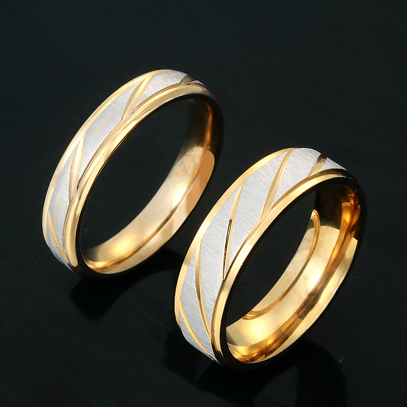Stainless Steel Gold and Silver Promise Rings