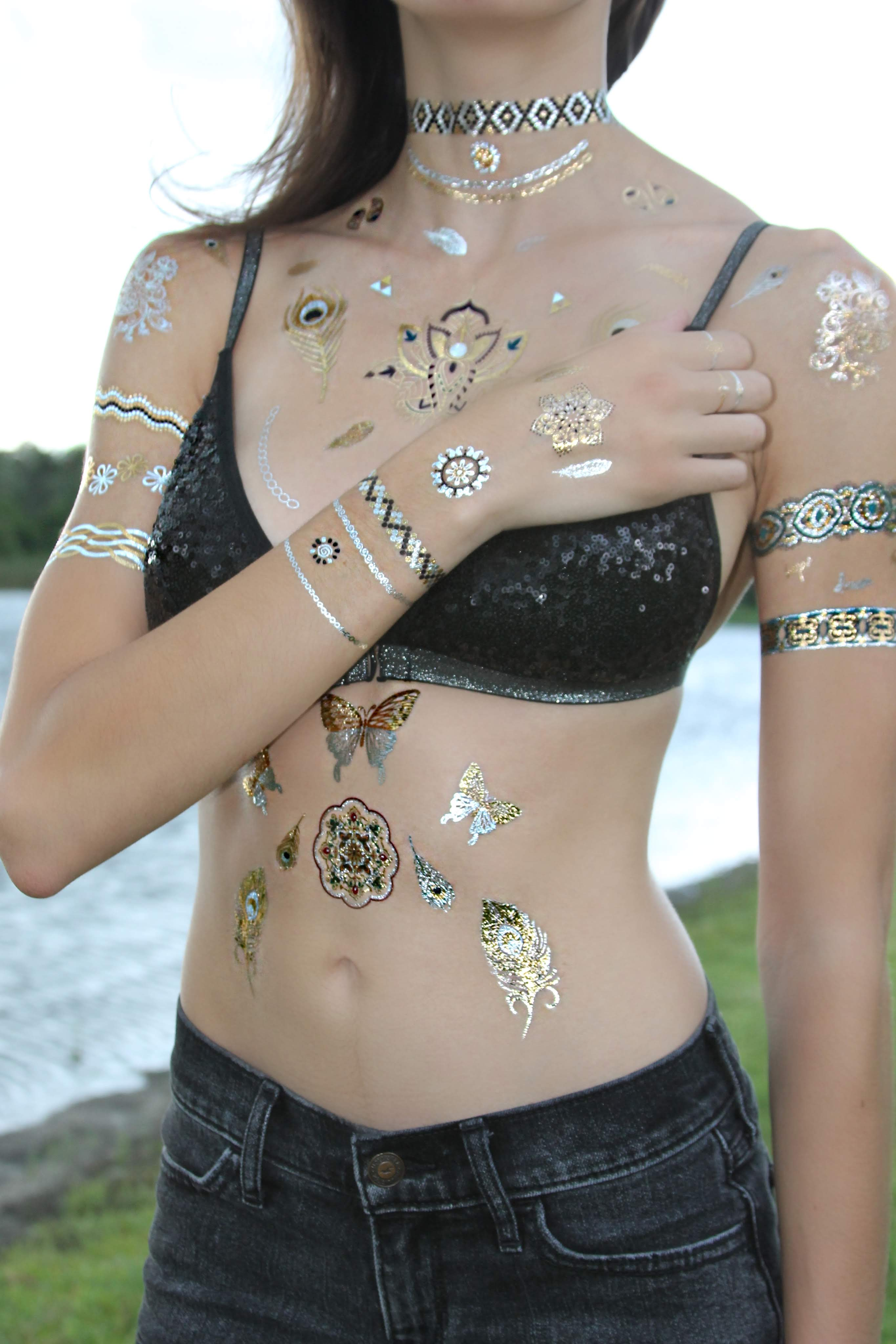 Gold, Silver, and Teal Temporary Waterproof Tattoo x 6 Sheets