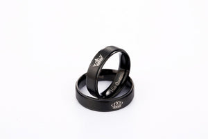 King and Queen Stainless Steel Black Promise Rings
