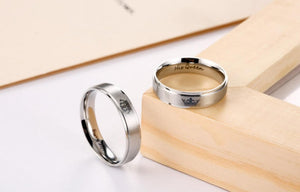 King and Queen Stainless Steel Silver Promise Rings
