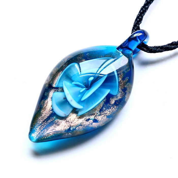 Leaf Lampwork Glass Pendant Necklace