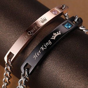 Stainless Steel Couple Bracelets Her King His Queen