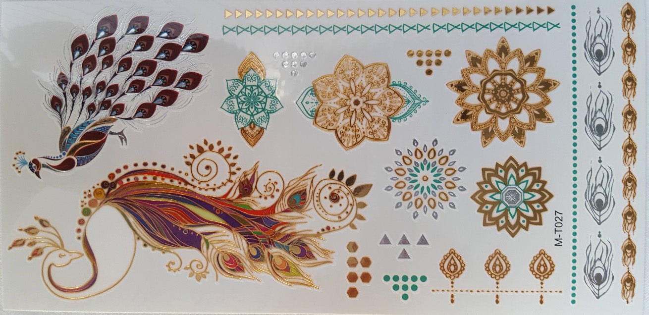 Gold and Silver Waterproof Temporary Tattoo x 6 Sheets