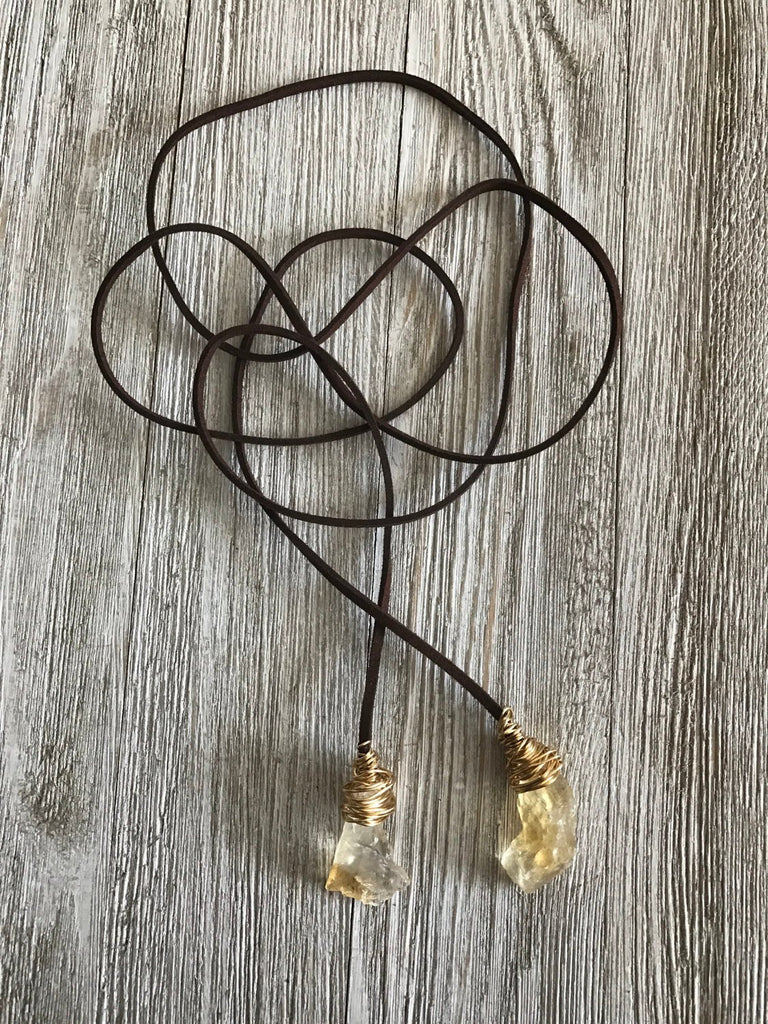 Citrine and Gold Brown Choker Toggles - SentimentalGems