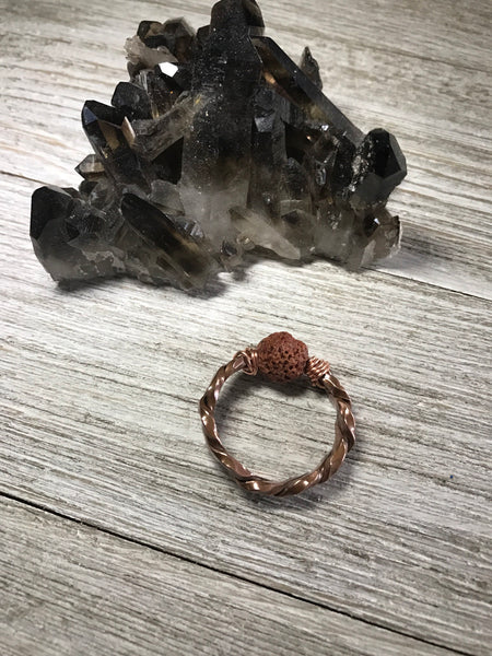 Copper Lava Rock Diffuser Ring size 5 - SentimentalGems