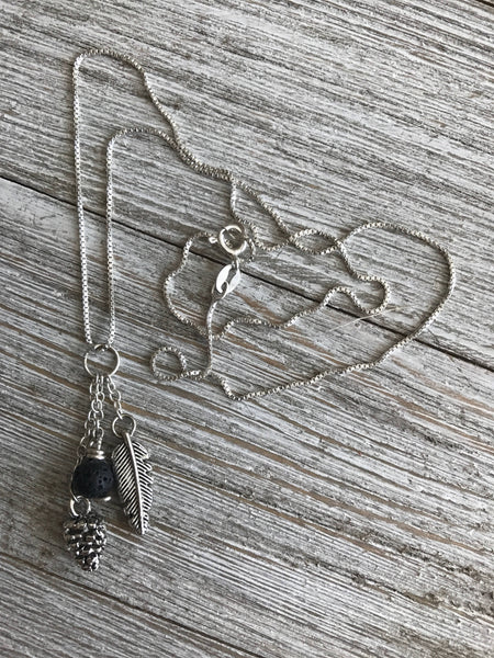 Lava, Feather & Pinecone Necklace Diffuser - SentimentalGems