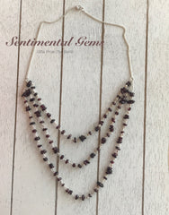 Garnet Chain-link 3 Tiered Necklace - SentimentalGems