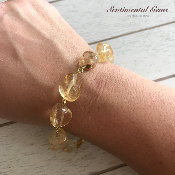 Gold Citrine Nugget Chain Link Woman's Medium Bracelet - SentimentalGems