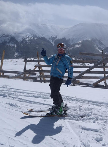Adrain Floreani skiing FloSkis at the top of Winter Park after a cold powder dump, elevation 11,800 feet!