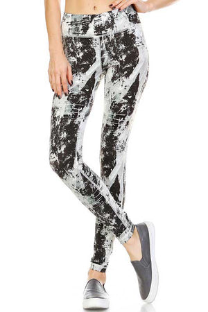 700907 FLFF - Splash Painting Print Athletic Leggings