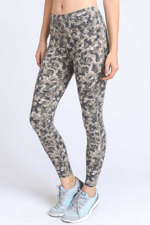 700914 FLFF - Bootcamp Camo Print Crisscross Athletic Leggings with Zippered Back Pocket