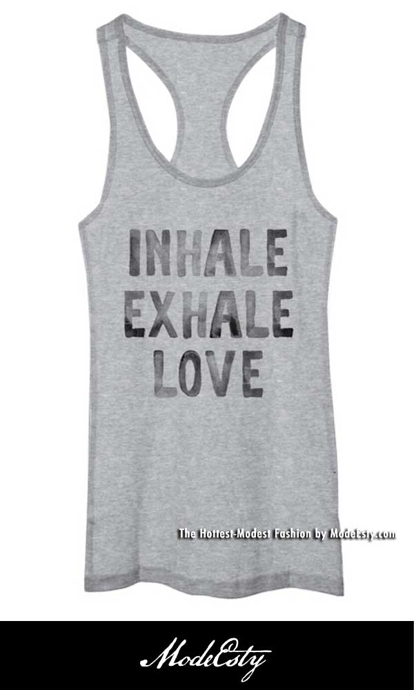 800502 INHALE EXHALE LOVE - Racer-Back Yoga Tank Top