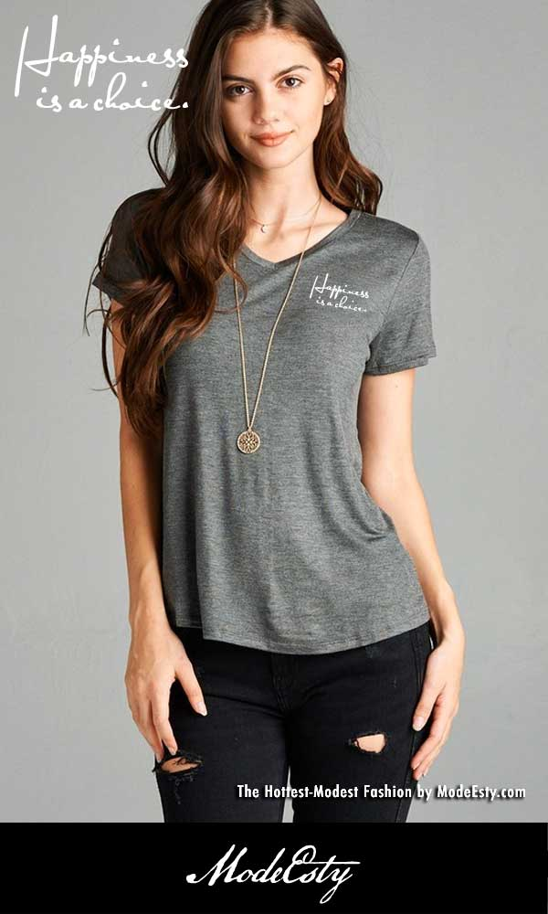 800503 Happiness is a choice - ComfySoft V-Neck Shirt