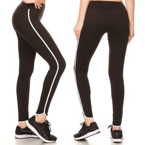 700910 FLFF - Black ComfySoft Stretchable Athletic Leggings with Side White Stripe