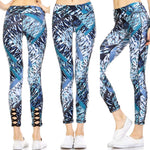 700908 FLFF - Wave Print Crisscross Athletic Leggings with Zippered Back Pocket