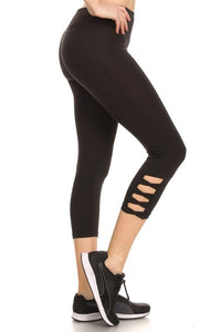 700911 FLFF - Black Satin Finish Stretchable Crisscross Capris Athletic Leggings