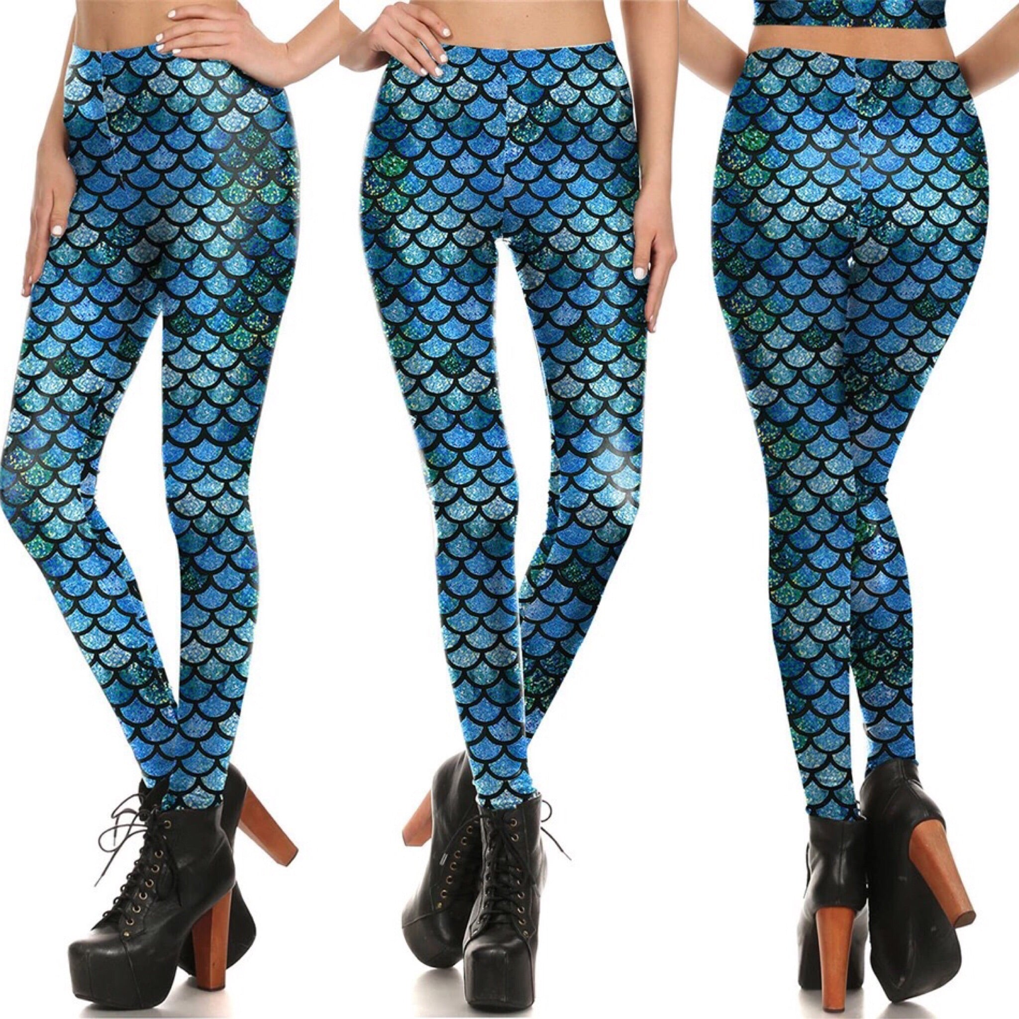"700915 FLFF - ""The Little Mermaid That Could"" Blue ComfySoft Stretchable Athletic Leggings"