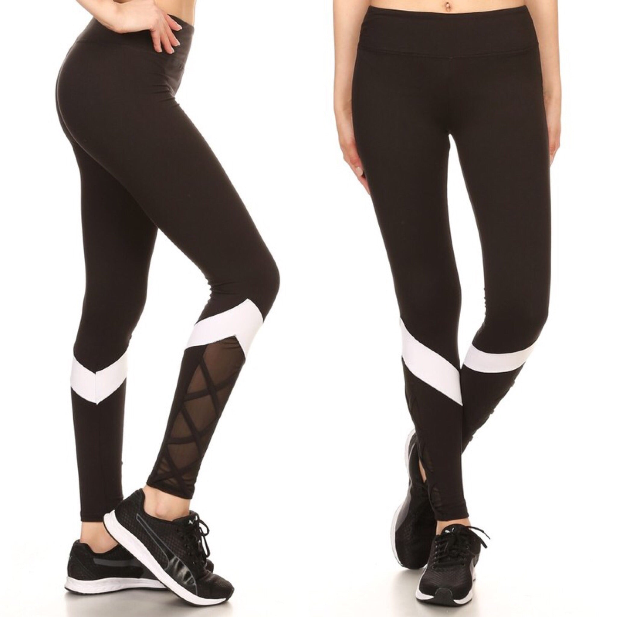 700909 FLFF - Black ComfySoft Stretchable Crisscross Mesh Athletic Leggings with White Stripe